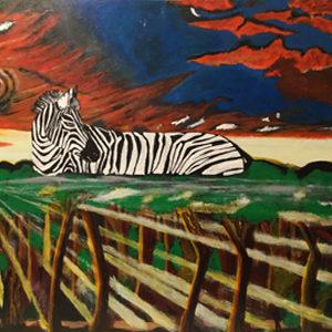 le chasseur et la proie peinture le zèbre
