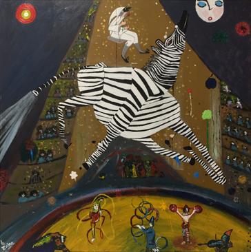 circus peinture le zèbre