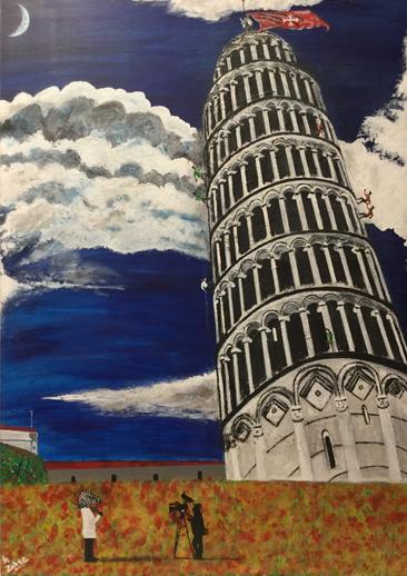 la tour de Pise peinture le zèbre